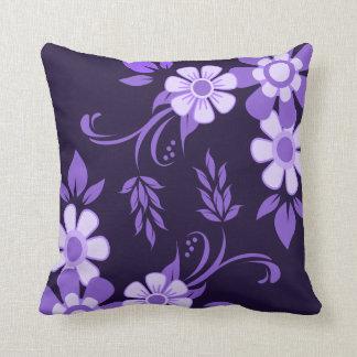 Purple Violet Floral Throw Pillow