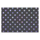 Purple Violet Metallic Faux Foil Polka Dot Black Tissue Paper