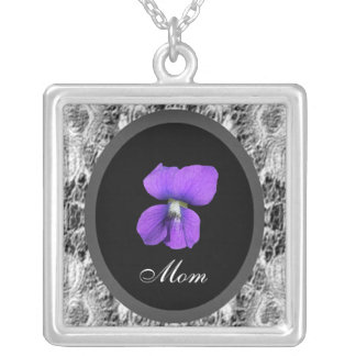 Purple Violet Mom Silver Plated Necklace