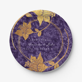 Purple Violet VelvetGold Floral Wreath Wedding Paper Plate