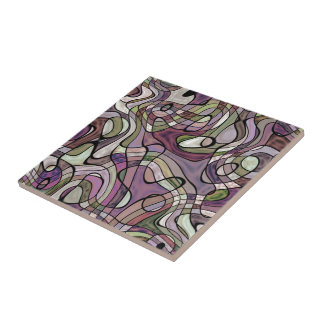 Purple Violet Warped Twisted Retro Squares Pattern Tile
