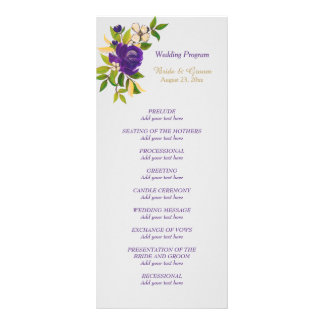 Purple Violet Watercolor Floral Wedding Program Rack Card Design