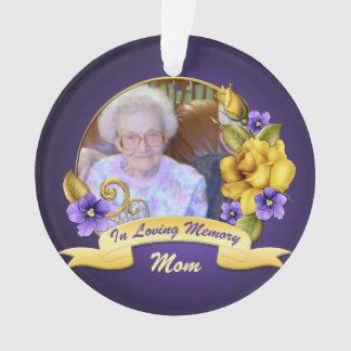 Purple Violets Yellow Roses Memorial Keepsake Ornament