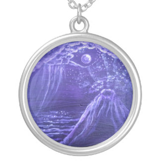 Purple Volcano Silver Plated Necklace