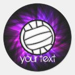 Purple Volleyball Round Stickers