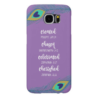 Purple w/Peacock Feathers Affirmation Scripture Samsung Galaxy S6 Cases