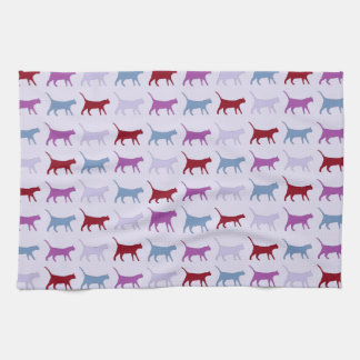 Purple Walking Cat Pattern Kitchen Towel