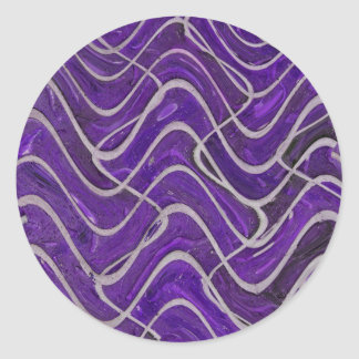 purple wall abstract classic round sticker