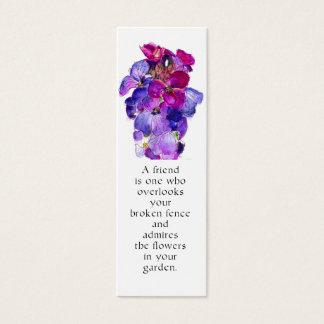 Purple Wallflower Bookmark Mini Business Card