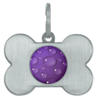 Purple Water Drop Pattern Pet Tag