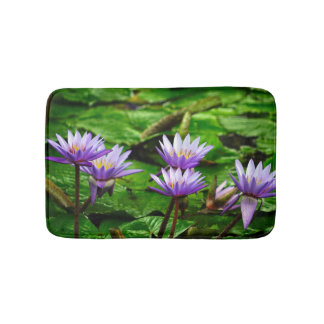 Purple Water Lilies Bath Mat