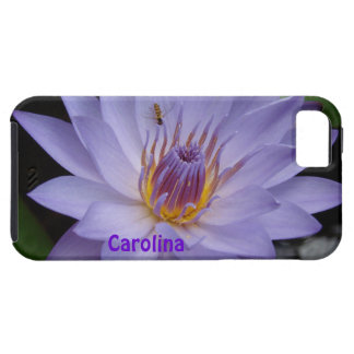 Purple Water Lily & Bee Custom Name iphone 5 Case