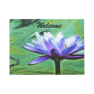 Purple Water Lily Door Mat