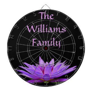 Purple water lily on black background dartboard