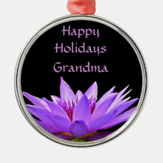 Purple water lily on black background Silver-Colored round ornament