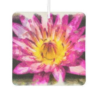 Purple Water Lily Watercolor Ink Car Air Freshener