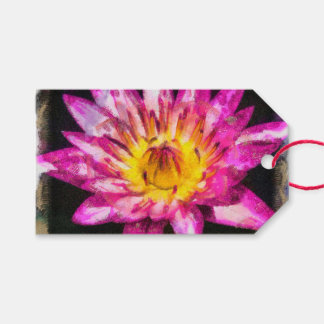 Purple Water Lily Watercolor Ink Gift Tags
