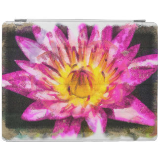 Purple Water Lily Watercolor Ink iPad Cover