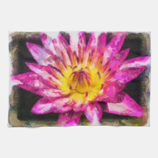 Purple Water Lily Watercolor Ink Kitchen Towel