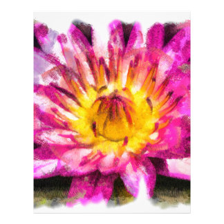 Purple Water Lily Watercolor Ink Letterhead