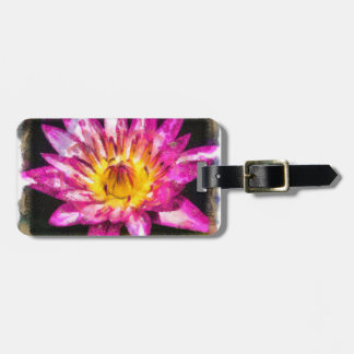 Purple Water Lily Watercolor Ink Luggage Tag