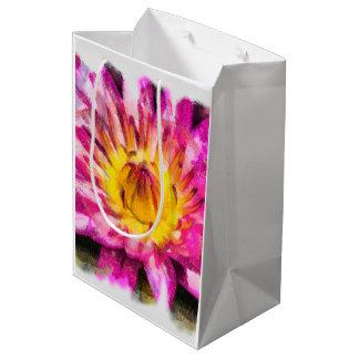 Purple Water Lily Watercolor Ink Medium Gift Bag