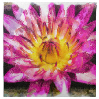 Purple Water Lily Watercolor Ink Napkin