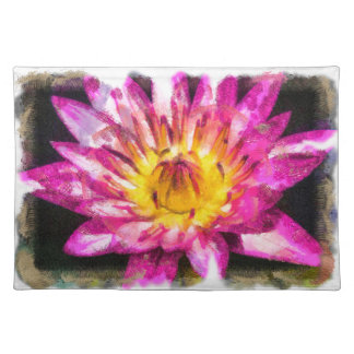 Purple Water Lily Watercolor Ink Placemat