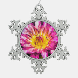Purple Water Lily Watercolor Ink Snowflake Pewter Christmas Ornament
