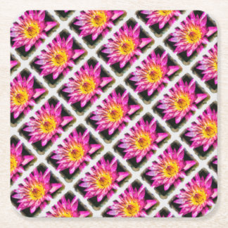 Purple Water Lily Watercolor Ink Square Paper Coaster