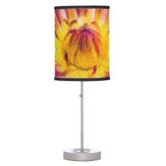 Purple Water Lily Watercolor Ink Table Lamp