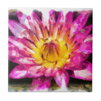 Purple Water Lily Watercolor Ink Tile