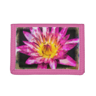 Purple Water Lily Watercolor Ink Trifold Wallets