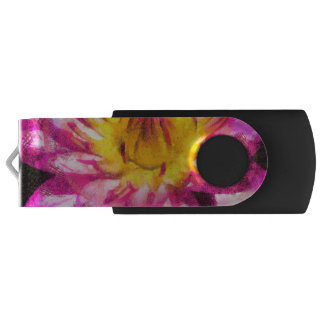 Purple Water Lily Watercolor Ink USB Flash Drive