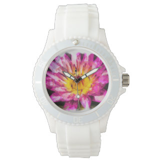 Purple Water Lily Watercolor Ink Watch