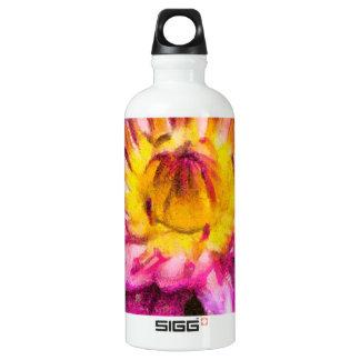 Purple Water Lily Watercolor Ink Water Bottle