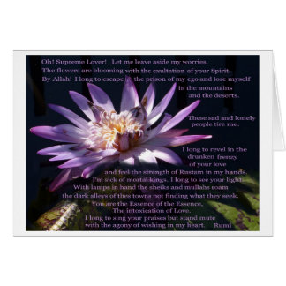 Purple Water Lily with poem by Rumi Card