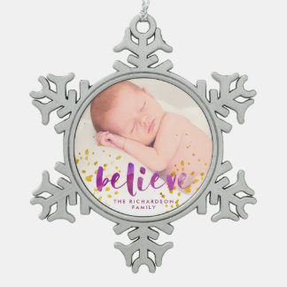 Purple Watercolor and Gold Believe | Photo Snowflake Pewter Christmas Ornament