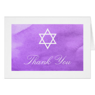 Purple Watercolor Bat Mitzvah Thank You Card
