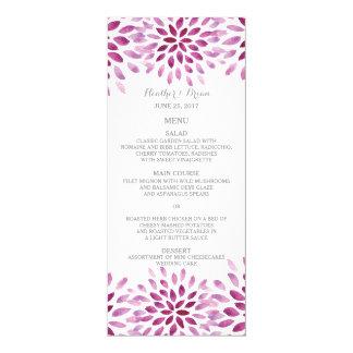 Purple Watercolor Chrysanthemum Wedding Menu Card