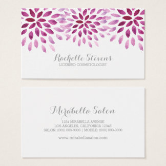 Purple Watercolor Chrysanthemums Business Card