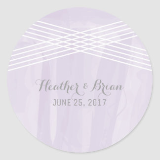 Purple Watercolor Deco Wedding Round Sticker