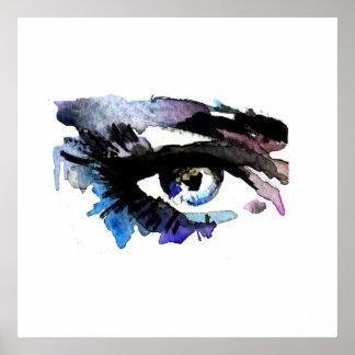 Purple Watercolor eyes lashes  makeup branding Poster