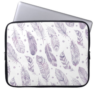Purple Watercolor Feather Pattern Makeup Bag