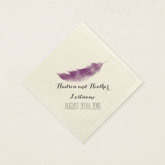 Purple Watercolor Feather Wedding Napkins Paper Napkins