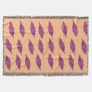 Purple Watercolor Feathers Throw Blanket