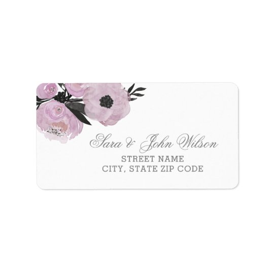 Purple Watercolor Floral address labels