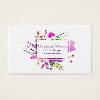 Purple Watercolor Floral Bouquet Business Card