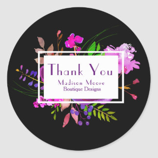 Purple Watercolor Floral Bouquet Company Thank You Classic Round Sticker