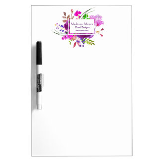 Purple Watercolor Floral Bouquet Dry Erase Board